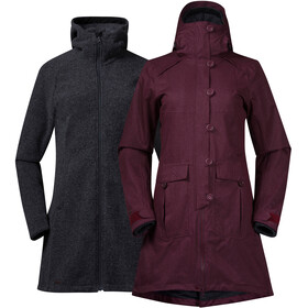 Bergans Bjerke 3in1 Cappotto Donna, zinfandel red/solid charcoal